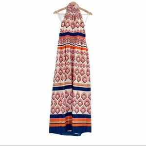 Eliza J Maxi Dress Halter Geometric Print Orange